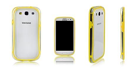 Xcessor Bumper Funda Carcasa Clásico Para el Samsung Galaxy S3 i9300. Caucho y Plástico Estilo. Amarillo/Transparente