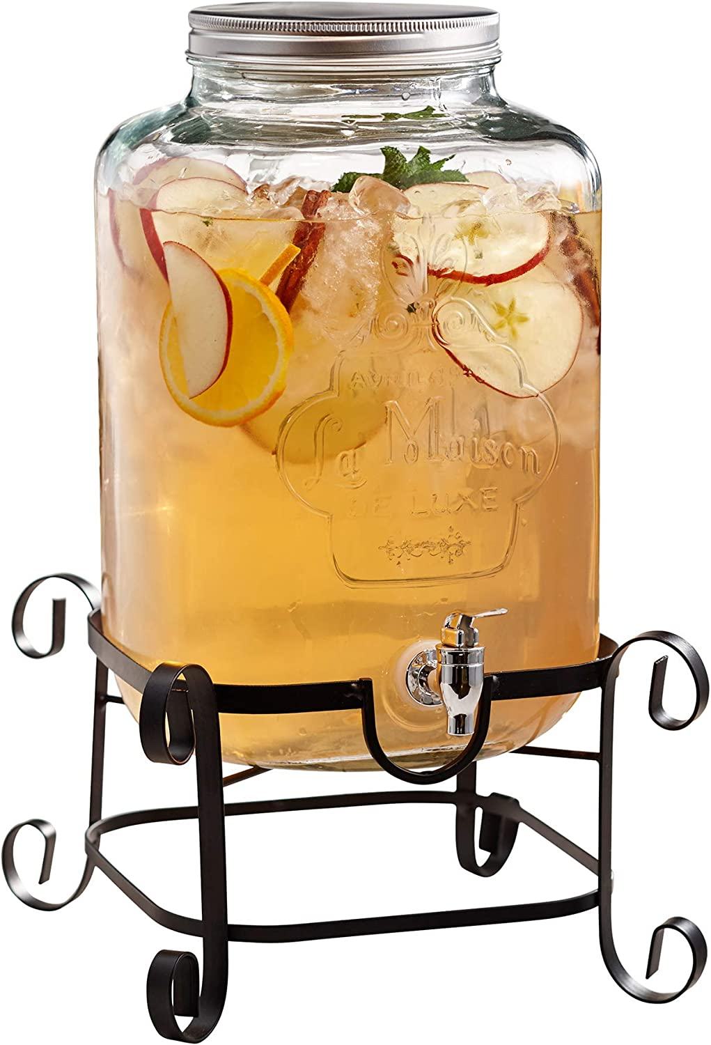 Style Setter 210262-GB Beverage Dispenser with Stand Cold Drink with 3 Gallon Capacity Glass Jug and Leak-Proof Acrylic Spigot in Gift Box for Parties, Weddings, 11.5 x 18, Clear