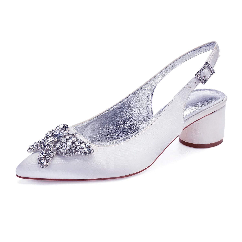 Zxstz Chaussures pour Femmes Satin Printemps Eté Chaussures à Talons avec Hauts avec Talons Bout Pointu Chaussures avec Strass Noeud Papillon 42|White eec5a7