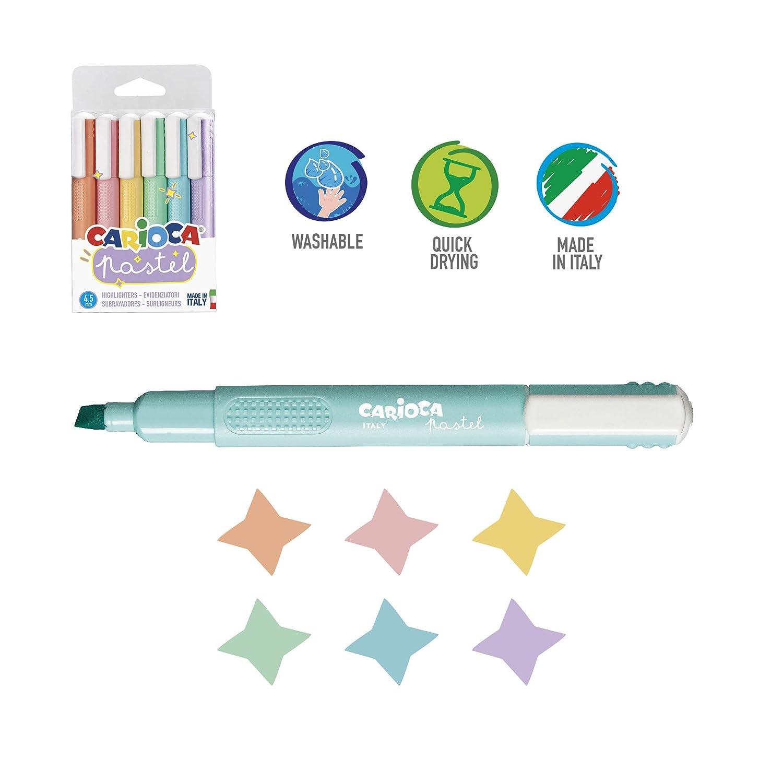 Kit per Colorare: Matite Pennarelli 26 Pezzi Evidenziatori Colori Pastello Assortiti 53229 CARIOCA SET PASTEL