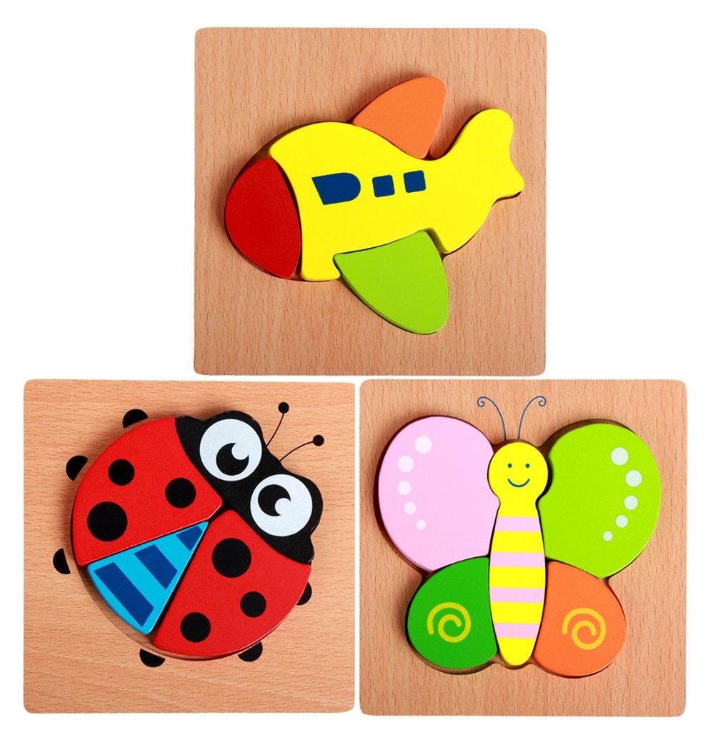Hillento Wooden Puzzles for Toddlers Kids Girls Boys Babies - Educational Puzzle Toys Set, Colorful Solid Wood Pieces. Educational & Sensory Learning for Toddlers, Set of 3 (Ladybug, Butterfly, Plane)
