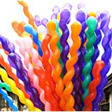 Aiernuo 100 pcs Spiral Balloons Thick Latex 2.6g/pcs Birthday Festival Party Decoration Mix Colors