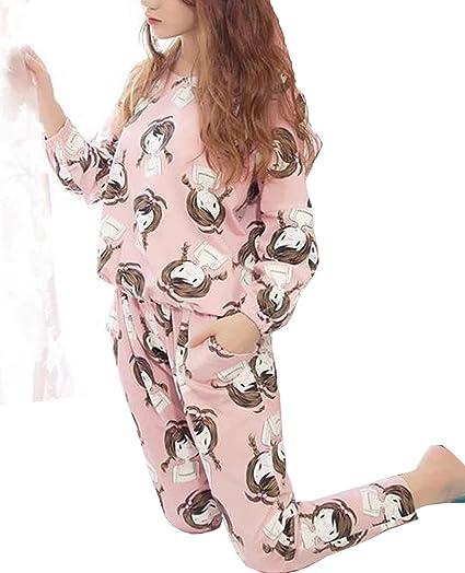 SWOMOG Womens Sleepwear Long Sleeve Cooton Two-Piece Nightwear Top Legging Pajama PJ Set