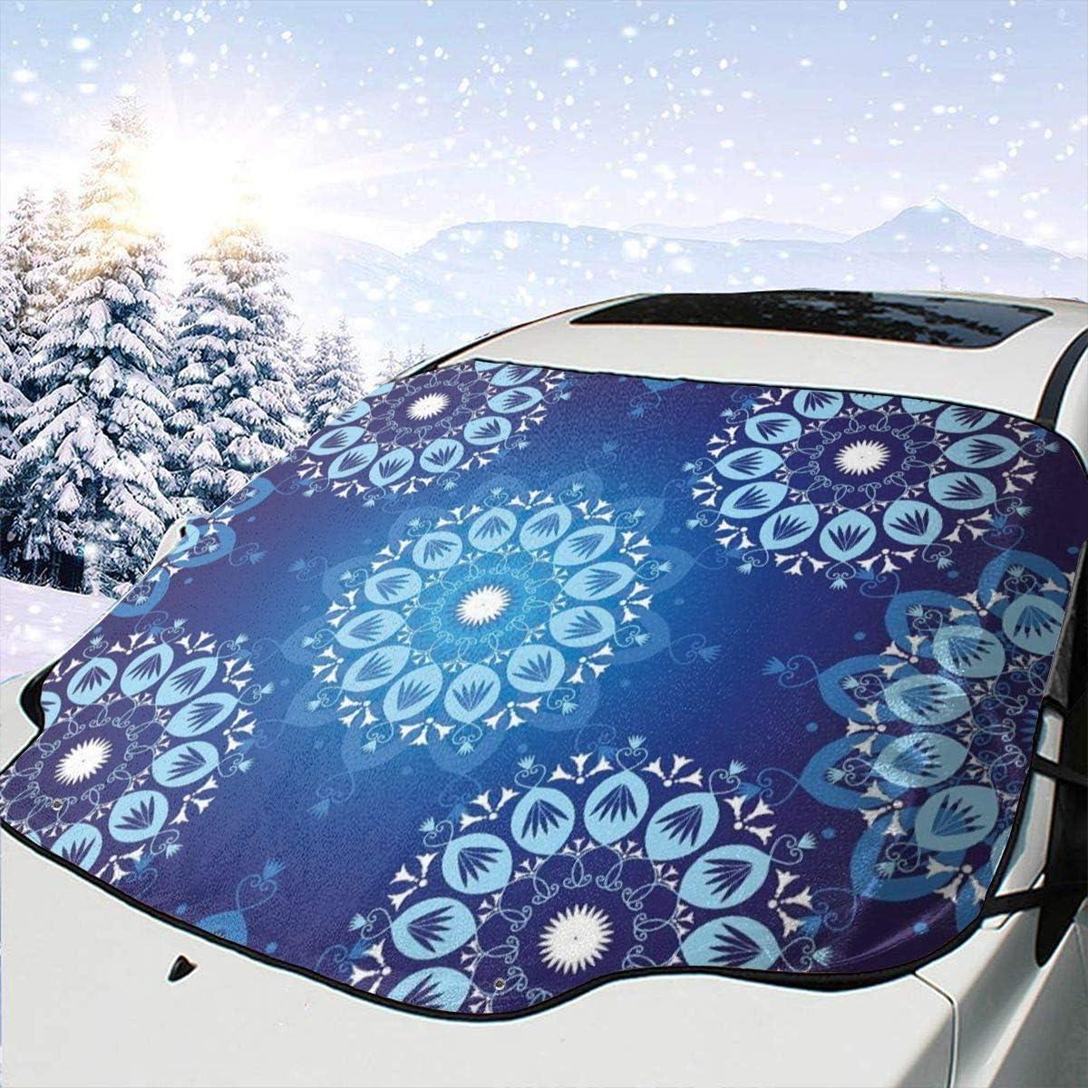 57.9x46.5in Auto Sonnenschutz Guard Cover Vintage-Stil Weihnachtsmuster mit Spitze wie Schneeflocke Motive romantisch Drew Tours Auto Front Fenster Schneedecke