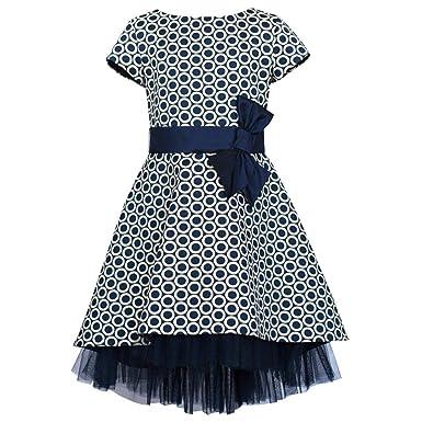 dbc2a276657 Unbekannt SLY Mädchen Kleid Einschulung Festlich Hochzeit Blumenmädchen  Rüschen Tüll Blau Weiß Größe 134