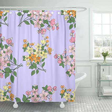 Amazon Emvency Shower Curtain Colorful Abstract Floral Pattern