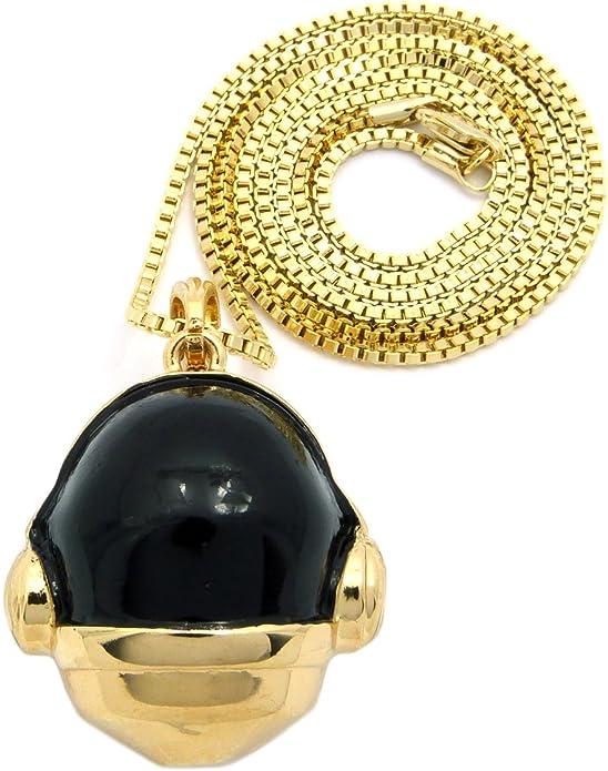 Daft Punk Duo Helmet Pendant /& 2mm 18 20 24 Box Chain Chain Hip Hop Necklace Set