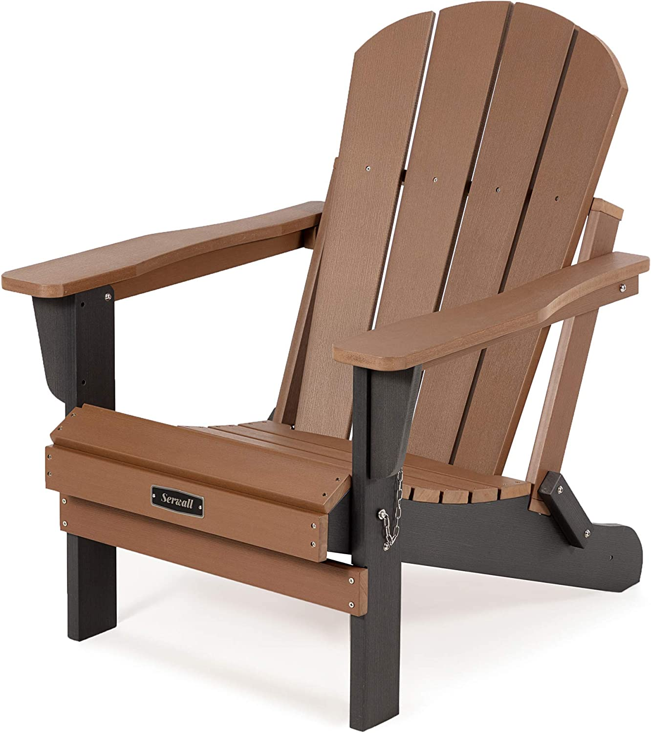 SERWALL Folding Adirondack Chair Patio Chairs Lawn Chair Outdoor Chairs Painted Adirondack Chair Weather Resistant- Brown & White Ideal for Lawn, Garden, Firepit