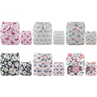 ALVABABY Cloth Diaper One Size Adjustable Washable Reusable for Baby Girls and Boys 6 Pack with 12 Inserts 6DM61