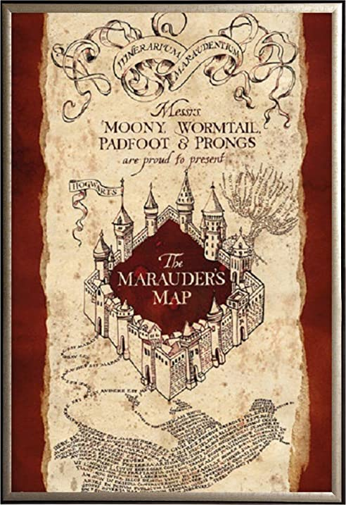 Amazon.com: FRAMED Harry Potter Marauders Map 24x36 Poster in Real ...
