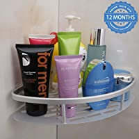 HOKIPO Magic Sticker Series Self-Adhesive Aluminium Bathroom Corner Shower Caddy (Silver)