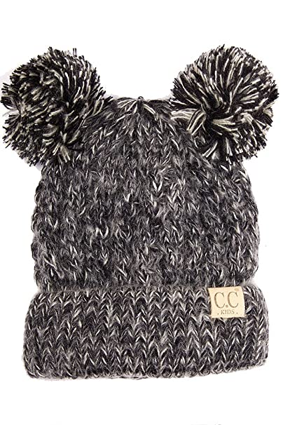 a363c3be619c04 ScarvesMe Exclusive CC Knitted Children Beanie with Knit Double Pom Pom ( Black)