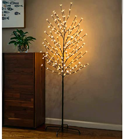 Light Blue for Indoor and Outdoor Use 1 Pack Christmas Holiday Party Wedding Decorate Home Garden Snokip 6Ft 208 LED Lighted Cherry Blossom Tree Birthday