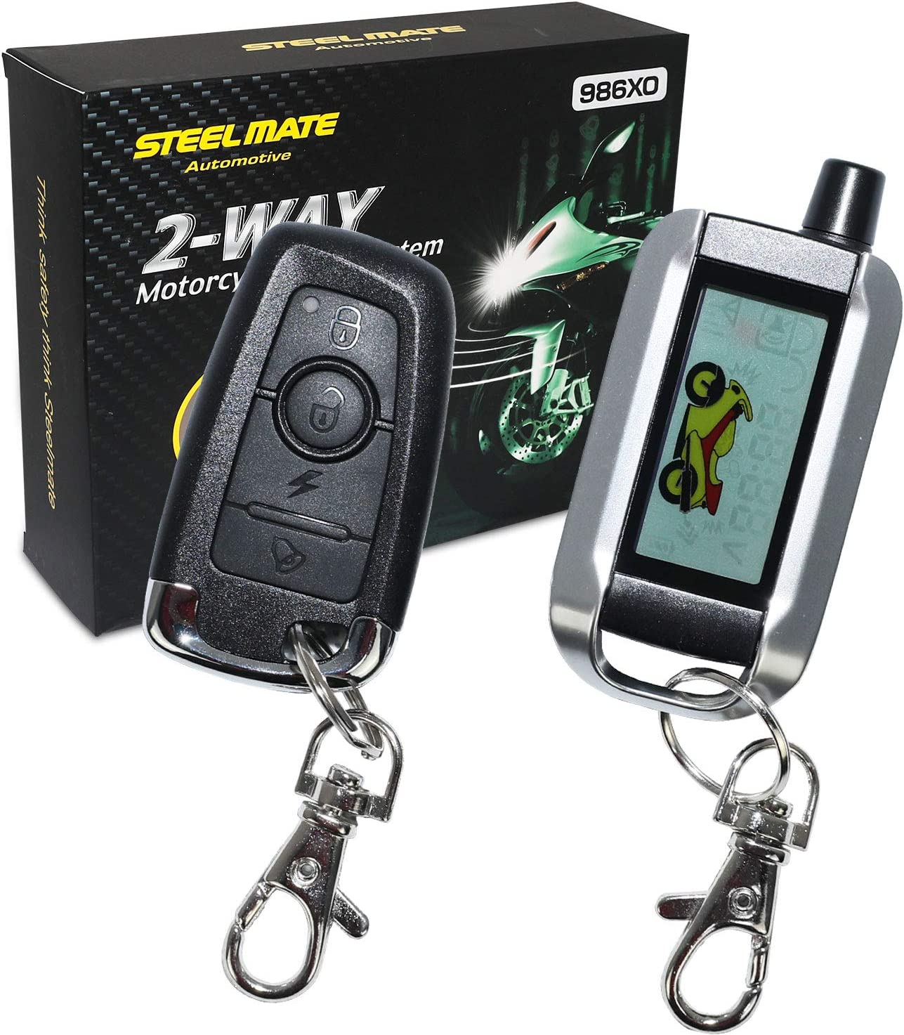 STEEL MATE 2-Way Motorcycle Alarm System 986XO with Remote Engine Start