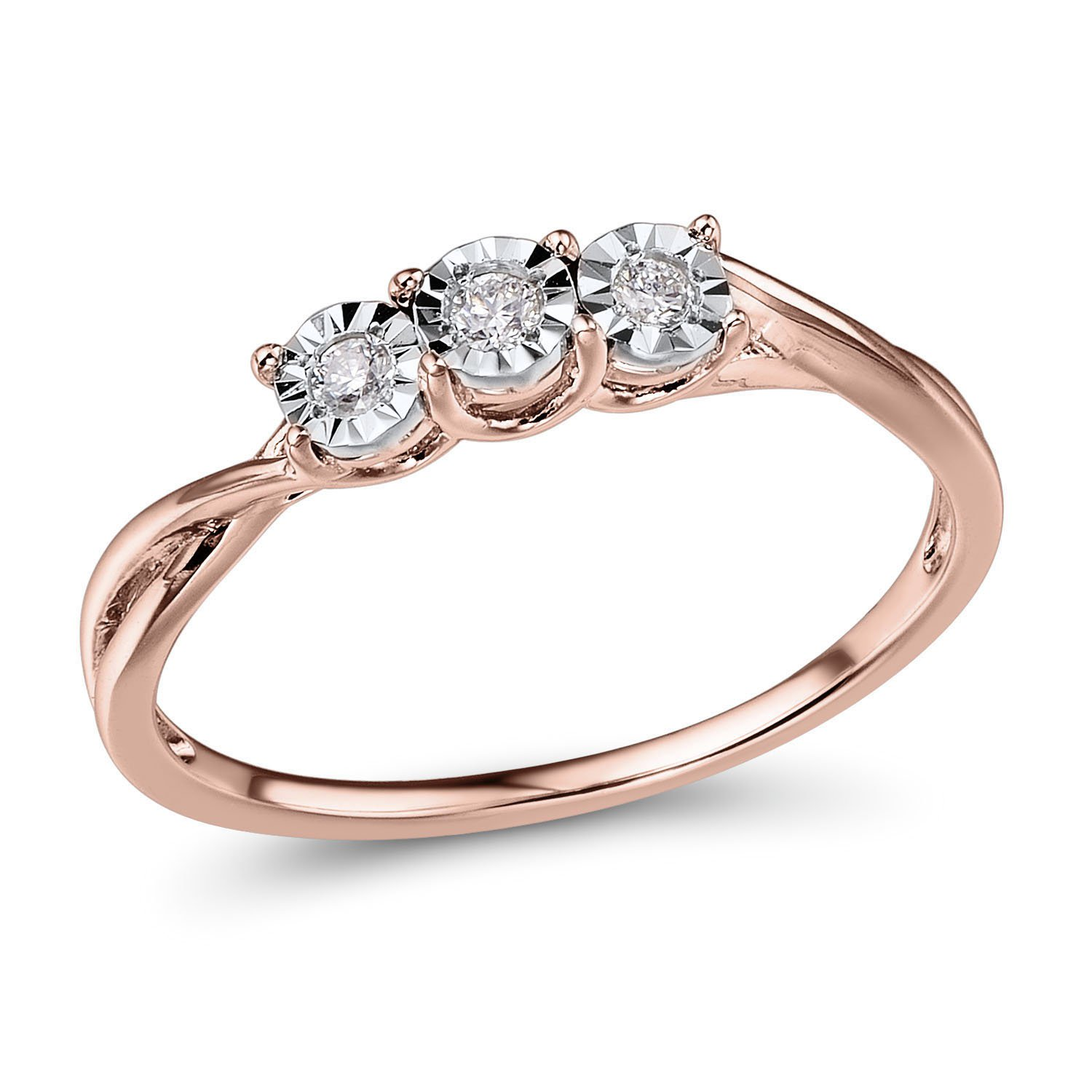 Diamond Promise Ring 10k Rose Gold and Rhodium Plated 10k White Gold 3-Stone Style by Diamond Classic Jewelry