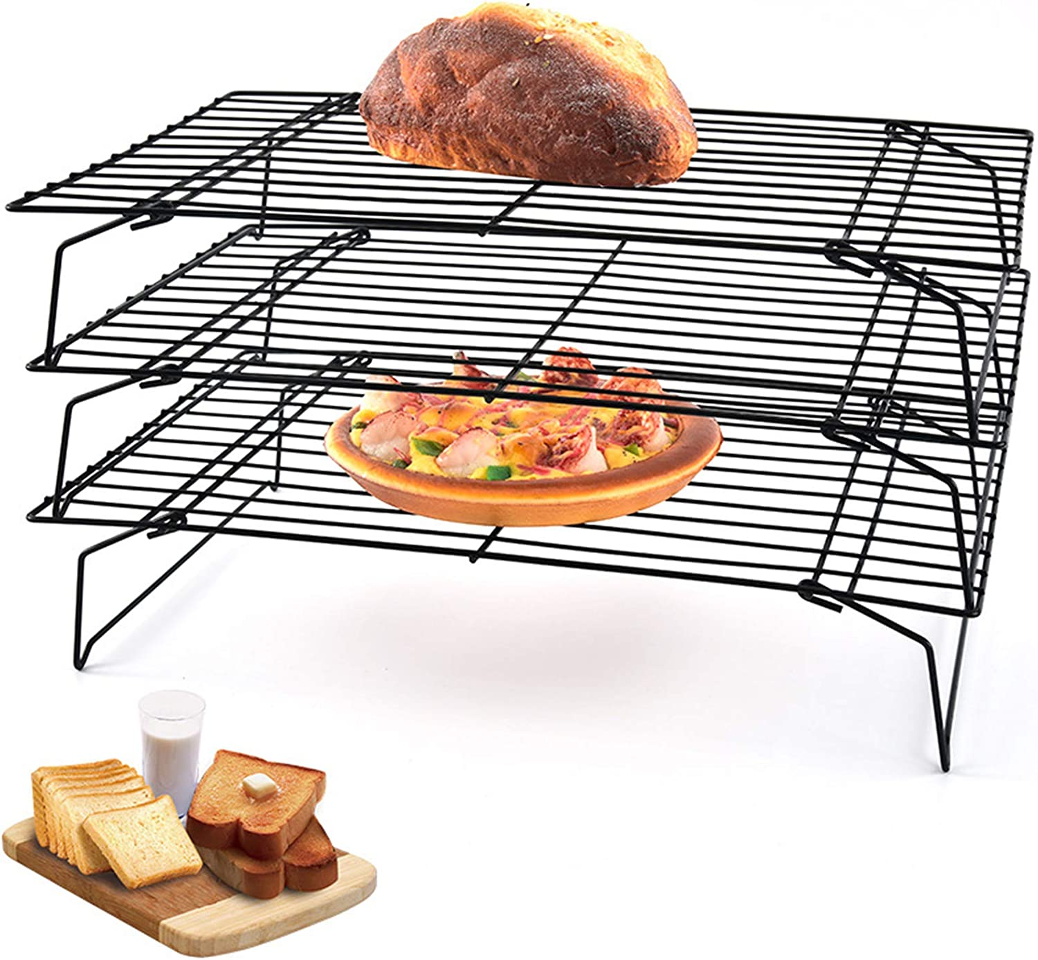 3-Tier Stackable Cooling Rack for Cake, Pastry, Bread, Meat and More Cooling Roasting Cooking for Cookies Baking,15.7