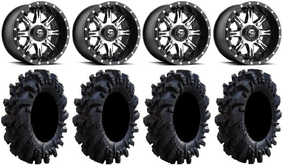 Bundle - 9 Items: Fuel Nutz Black 14'' Wheels 30'' Intimidator Tires [4x156 Bolt Pattern 12mmx1.25 Lug kit]