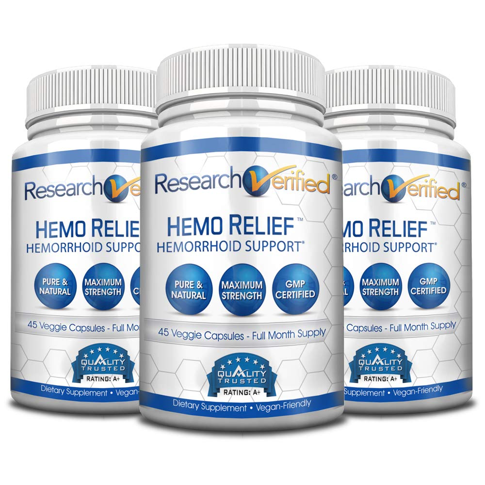 - Research Verified Hemo Relief - 100% Natural Formula for Hemorrhoid Relief - Provides Immediate Relief and Long-Term Healing - 365 Days Money Back Guarantee - 3 Bottles Supply by Research Verified