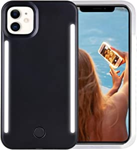 Wellerly iPhone 11 Case, LED Illuminated Selfie Light Up [Rechargeable] Luminous Flashlight Cellphone Case Cover for iPhone 11 - Black