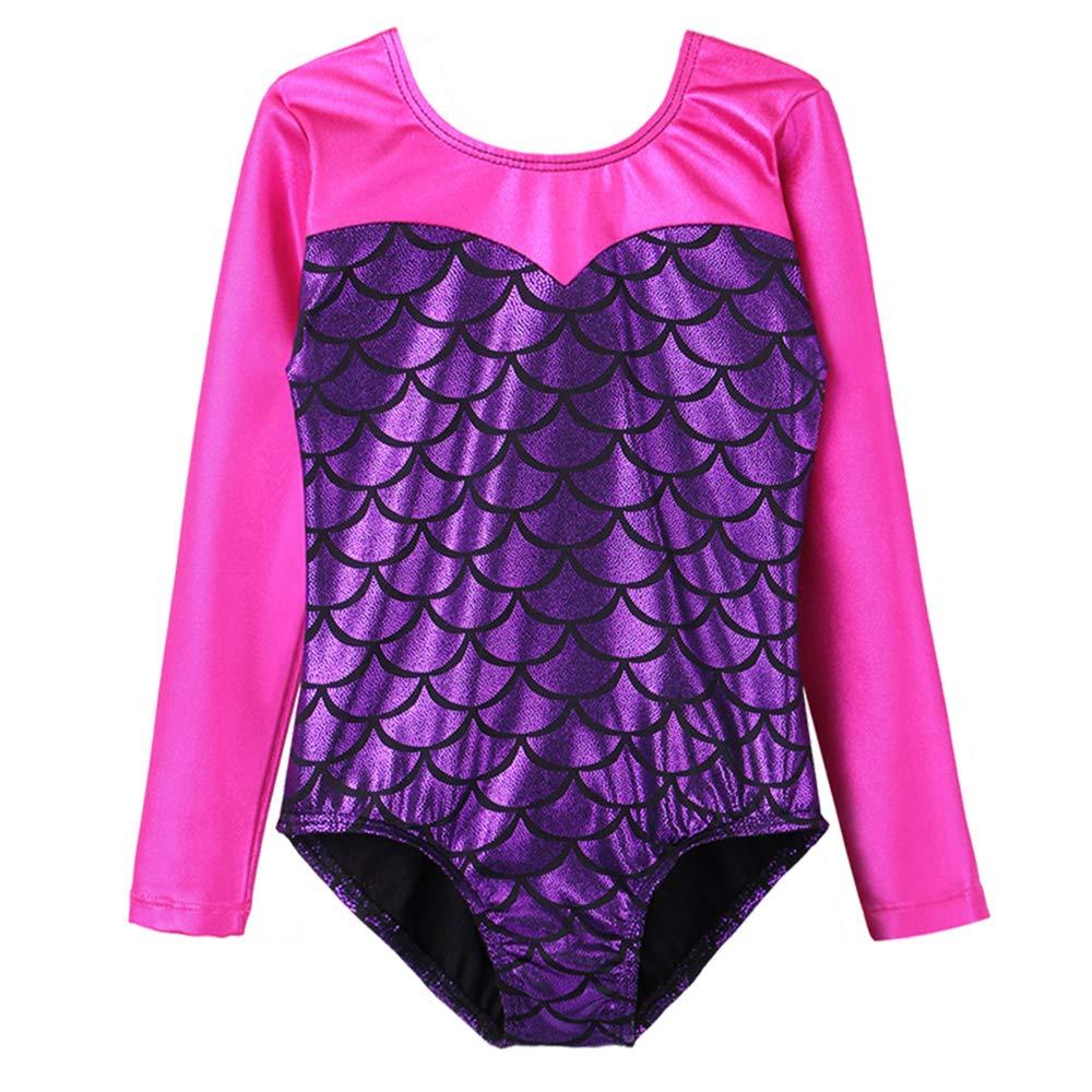 BAOHULU 子供用バレエレオタード 女の子 長袖 袖無し 星空 かぼちゃ キラキラ練習着 体操レオタード ダンス用 B07GZSHNY3 Tag.4A(3-4Years)|Sleeved Purple Sleeved Purple Tag.4A(3-4Years)