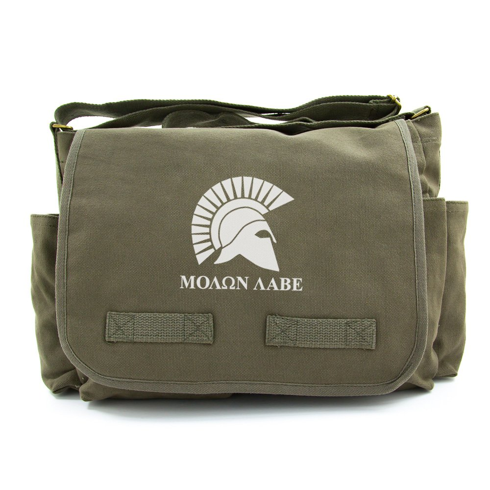 Heavyweight Canvas Messenger Shoulder Bag Molon Labe Spartan Helmet Black /& Wh