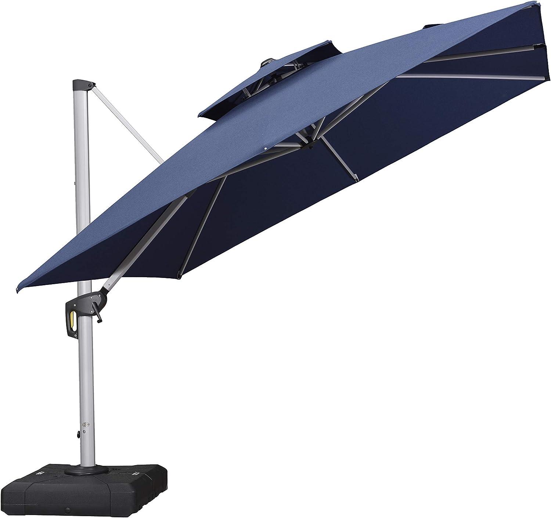 PURPLE LEAF 10 Feet Double Top Deluxe Sunbrella Square Patio Umbrella Offset Hanging Umbrella Cantilever Umbrella Outdoor Market Umbrella Garden Umbrella, Spectrum Indigo