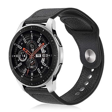 Fintie Correa para Samsung Galaxy Watch 46mm / Gear S3 Frontier/Gear S3 Classic - 22mm Pulsera de Repuesto de Cuero Sintético Premium, Negro