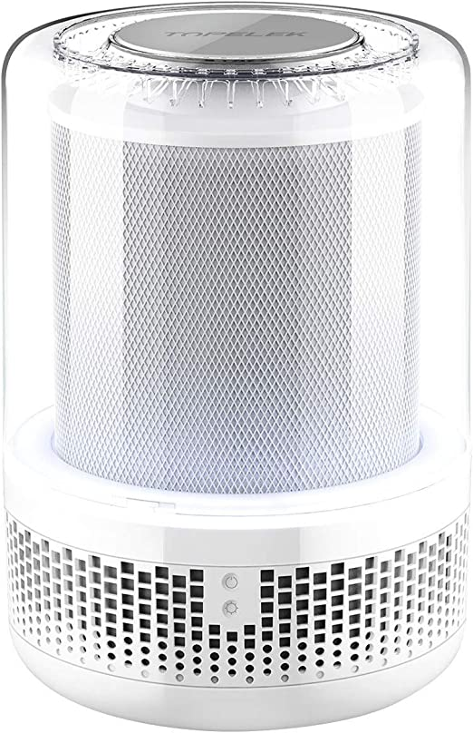 Purificador de Aire TOPELEK, Filtro HEPA Verdadero, Filtro Grande, CADR 75,Eliminador de PM 2.5, el 99,97% de Olores, Alergias, Humo, Polvo, Moho, Polen y Olor y Caspa de Mascotas, LUZ LED, 40db.: