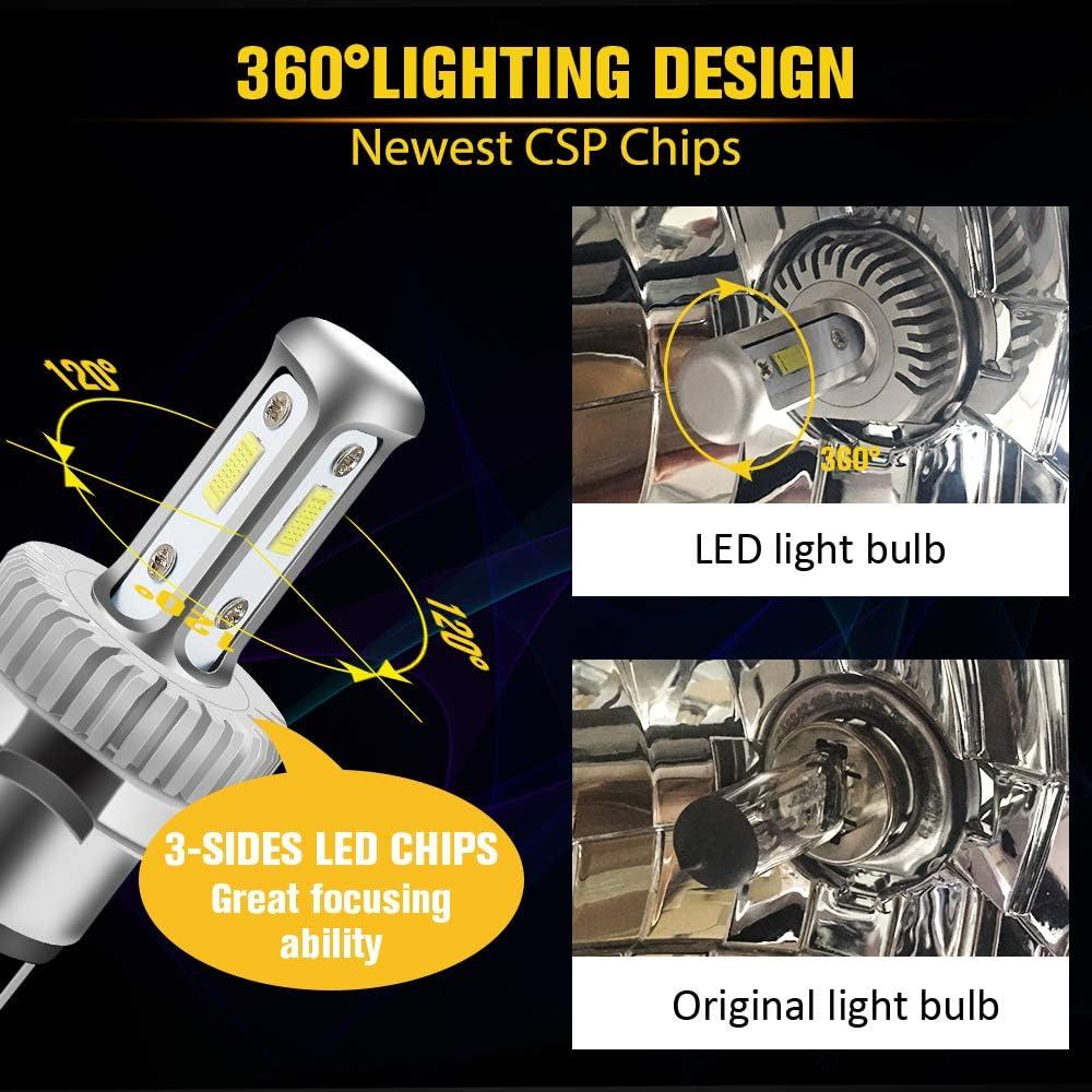 H4 LED Motorcycle Headlight Bulb Hi//Lo Beam 9003 Bulb 2500 Lumens White 6000k CSP Chips LED Car Headlight H4 Headlamp 1:1 Design