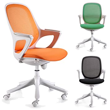 Bürostuhl weiß stoff  FineBuy Bürostuhl Schreibtischstuhl Stuhl Büro Farbe Orange Weiß ...