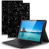 IVSO Tastatur Hülle für Samsung Galaxy Tab A 10.5 SM-T590/T595,[QWERTZ Deutsches], magnetisch abnehmbar Tastatur für Samsung Galaxy Tab A SM-T590/SM-T595 10.5 Zoll 2018, Ink Constellation