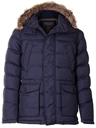 396d1be4a2bf7 Love My Fashions Mens Brave Soul Parka Quilt Padded Faux Fur Trim Hooded  Jacket at Amazon Men s Clothing store