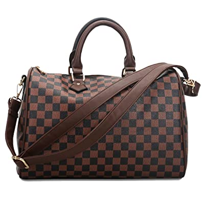 Fashion Bazaar Designer Style Check Shoulder Bags - Faux Leather Tote -  Barrel Style Gym Weekend 723f787a08b9b