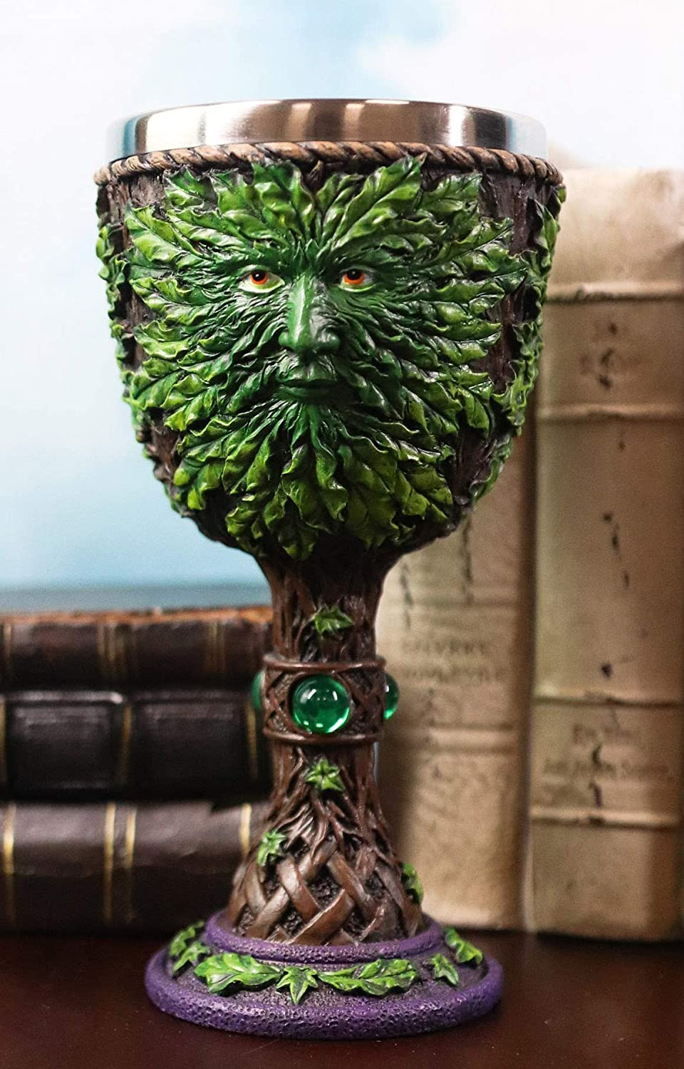 Ebros Gift Large Mythical Tree Spirit Man Greenman Wine Goblet Chalice Cup Figurine With Green Gemstones 8oz Medieval Myths Legends And Magic Deity Of Rebirth Themed Party Accessory