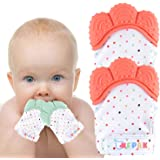 NEPAK Teething Mitten 2 Pairs-Baby Glove Stimulating Teether Toys for Boys & Girls-Teething Glove for Child (Coral and…