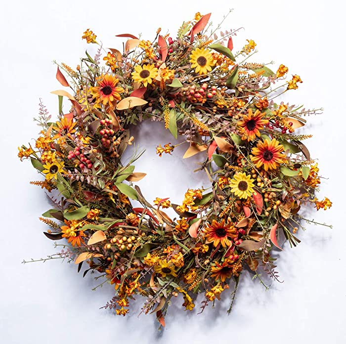 "JINGHONG Fall Front Door Wreath,24"" Artificial Floral Wreath with Colorful Daisies and Autumn Foliage Fall Orange Wreath for Front Door Wall Window and Thanksgiving Decor"