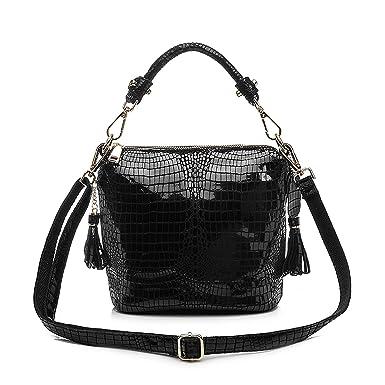 a3fae57eb4c8 Amazon.com: Cherryi genuine leather handbags women small totes shoulder  crossbody bags ladies classic,Black: Clothing