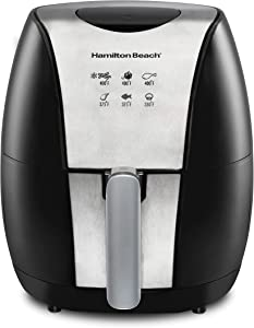 Hamilton Beach 3.2 Quart Digital Air Fryer Oven with 6 Presets, Easy to Clean Nonstick Basket, Black (35065)