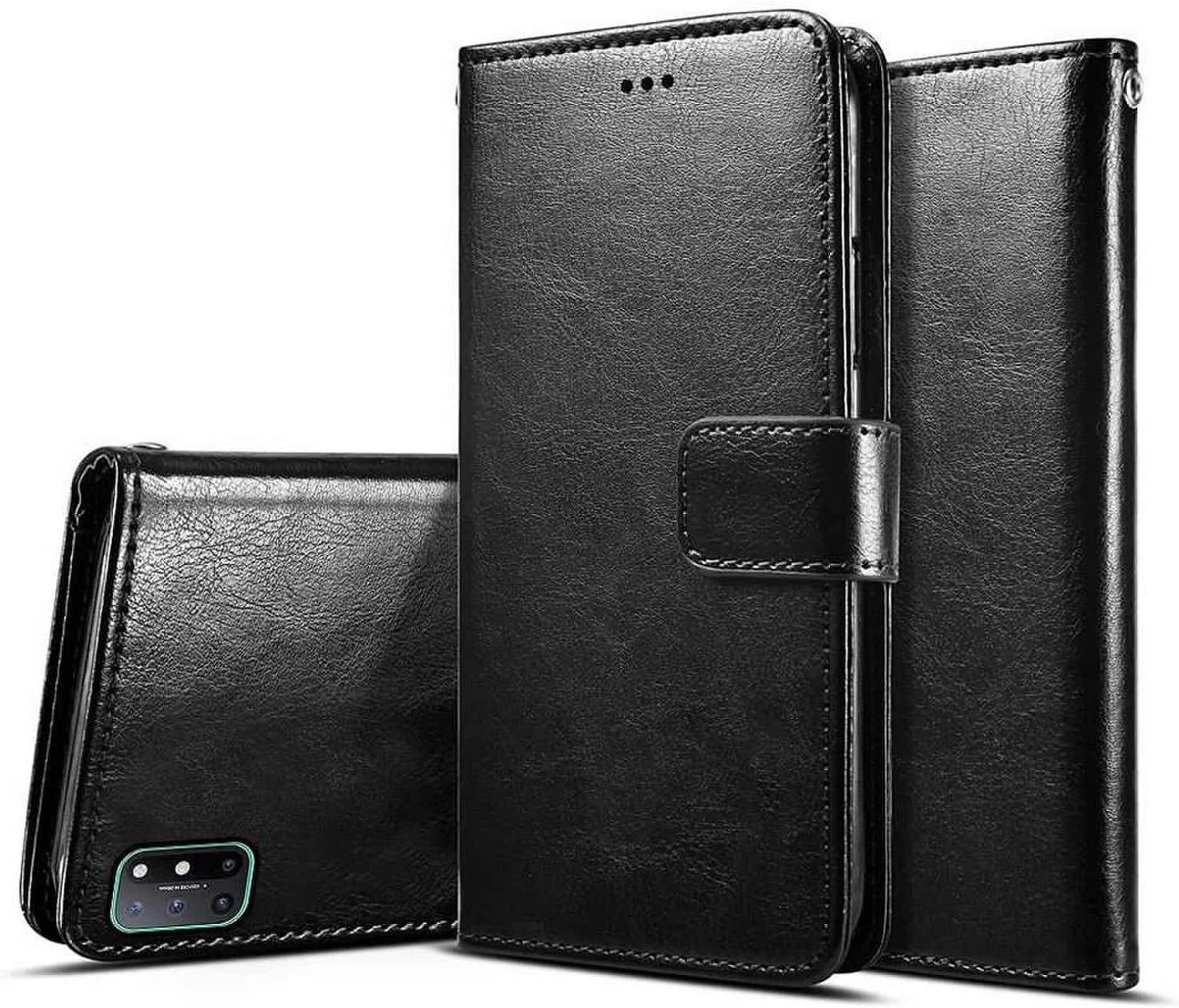 Oneplus 8T Case with Screen Protector,PU Leather Wrist Strap Card Slots Soft TPU Shockproof Protective Flip Cover Case,Black OnePlus 8T 5G Wallet Case