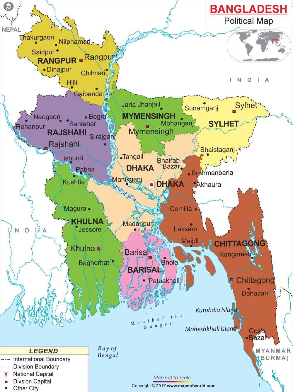 Amazon Political Map Of Bangladesh Laminated 36 W