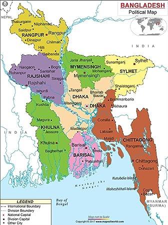 Map Of Uk Hd.Political Map Of Bangladesh Laminated 36 W X 48 H Amazon Co