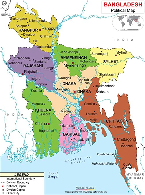 Amazoncom Political Map Of Bangladesh W X H Office - Saidpur map