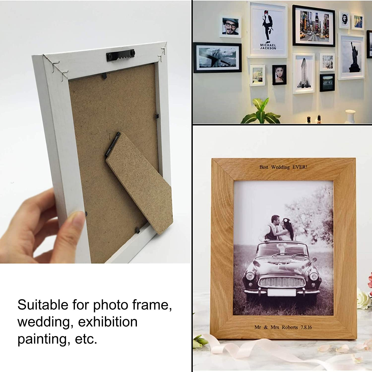 20 Pack D-Ring Steel Picture Hangers Heavy Duty with Screws Picture Frames Double Holes Clasp Picture Hang Solutions for Hanging Clock Paintings Artwork Picture Frame Hook Photos Mirrors