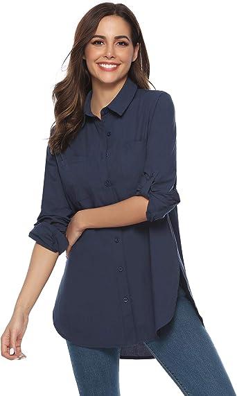 Abollria Blusa Larga para Mujer Boyfriend Camisa Manga Larga para Primavera, Verano, Otoño: Amazon.es: Ropa y accesorios