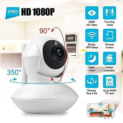SANNCE 1080P IP Cámara Video Vigilancia WiFi Inalambrica IR Vision Nocturna Incorporado Micrófono y Altavoz,