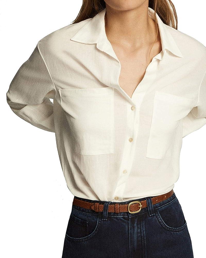 MASSIMO DUTTI 6842/672/712 - Camisa con Bolsillos Grandes para Mujer Blanco. S: Amazon.es: Ropa y accesorios