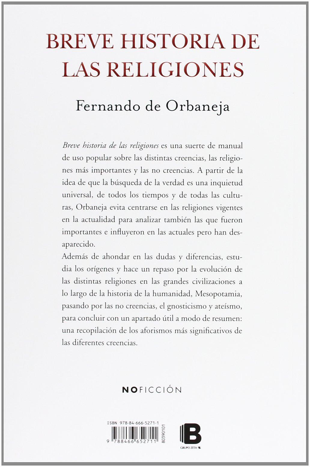 Breve historia de las religiones (B DE BOLSILLO): Amazon.es: de Orbaneja, Fernando: Libros