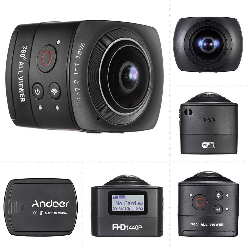 Andoer 360 Grad Panorama VR Videokamera 220° Wild-Winkel Fischaugenlinse Full-HD 1440P 1080P 30FPS