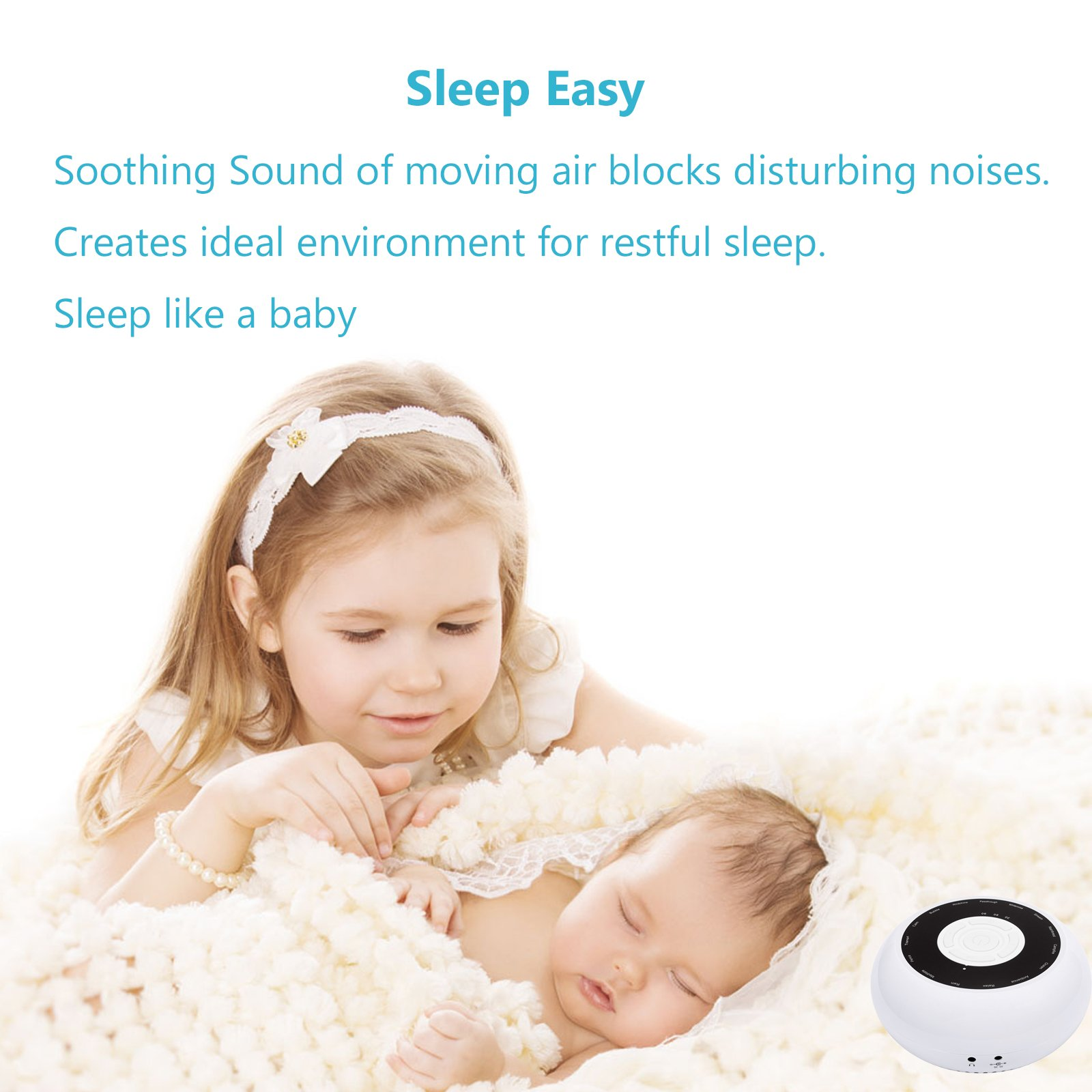 L\'émouchet White Noise Sleep Machine Natural Relaxing Sound Soother Conditioner 15 Soothing Sound Tracks Timer Option 3.5mm Headphone Jack Volume Control, AS 1se (No lithium battery)