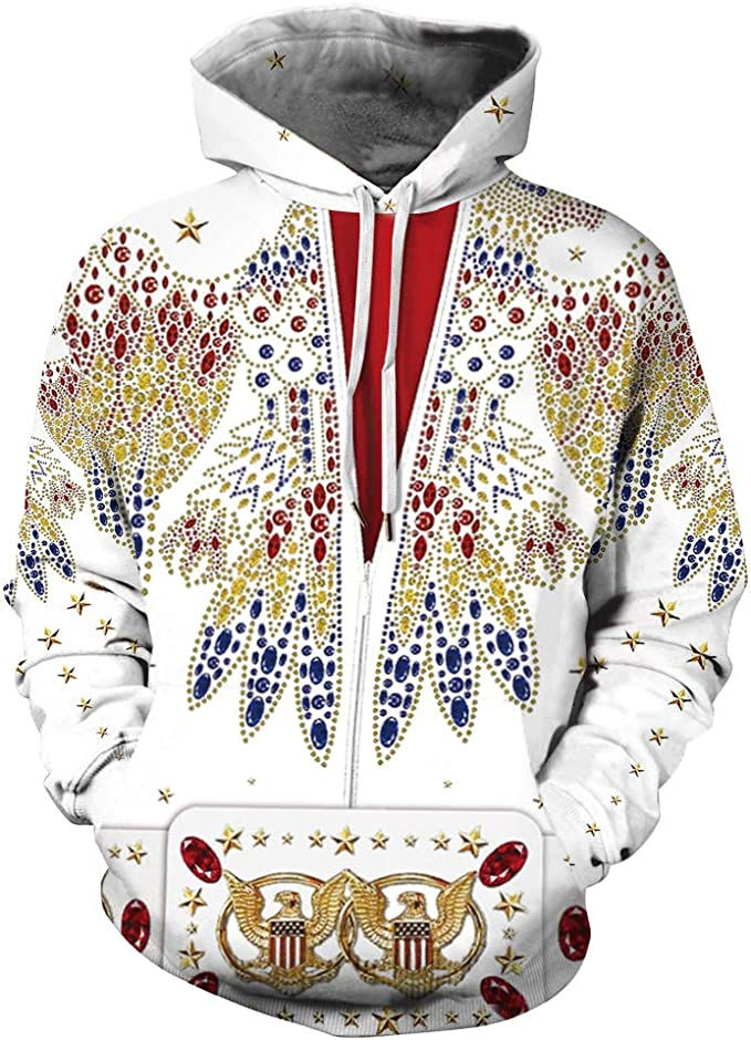 3D Print Elvis Presley Zipper Hoodie Sweatshirt Jacket MenWomen Sports Coat Tops